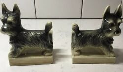 Vintage Scottish Terrier Ceramic Bookends - Made In Germany