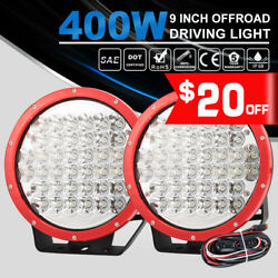 40000LM 9 inch 2PCs LED Spot Lights Red Spotlight ATV Offroad w DT Wiring Kit