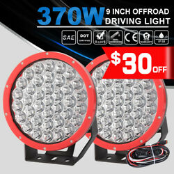 370W 9 inch 2Pcs LED Work Lights Headlight  Driving Red Spotlight DT Wiring Kit