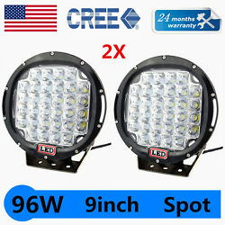 2x Round 9and039and039inch 96w Led Driving Spot Work Light Offroad For Jeep Truck Vs 185w