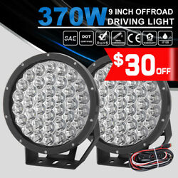2x 9inch 37000LM LED Driving Light Work Spotlights w DT Wiring Kit PMMA Covers