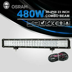 23 Inch 480W 48000LM Combo Beam 5D Led Light Bar w DT Wiring Kit Offroad Lights