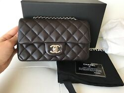 2018 CHANEL MINI RECTANGULAR FLAP BAG QUILTED BROWN CAVIAR LEATHER SILVER HW CC