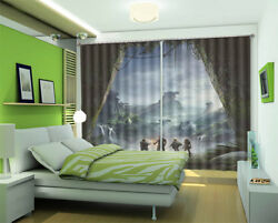 Savage Outside Cave 3d Curtains Blockout Photo Printing Curtains Drape Fabric