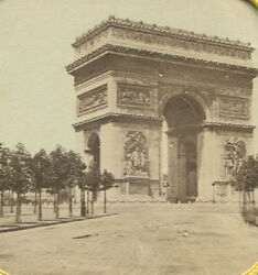 Arc De Triomphe, Paris, France. Stereoview, Hand Tinted Stereo Tissue.