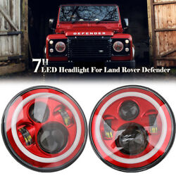 2x 7and039and039 Led Hi-lo Headlight Round Halo Angle Eyes Red/white For Wrangler Jeep Jk