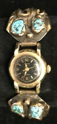 Vintage/old Pawn Native American 14kt Gold Watch And Band Tawa By J/c