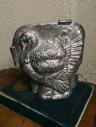 Primitive Antique Tin Style Turkey Silver Resin Chocolate Mold Rustic Halloween