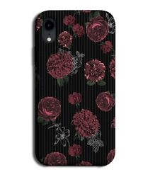Black With Red Roses Floral Phone Case Cover Flowers And Rose Gothic Girly G836