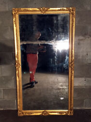 Antique And Elegant Louis Philippe Mirror With Frame In Golden Leaf