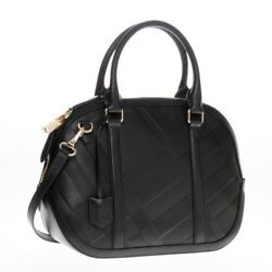 Burberry Women's Small Soft Check Orchard Bowling black Leather Satchel