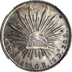 1877 Ho-gr Mexico 8 Reales Hermosillo Mint Ngc Ms 63 Scarce Date Sole Finest