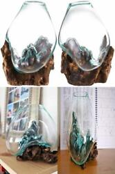 Cohasset Gifts 650-15a Glass Molten And Wood Sculpture,...