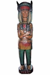 Vintage Cigar Store Native American Indian Statue With Buffalo Headdress 86