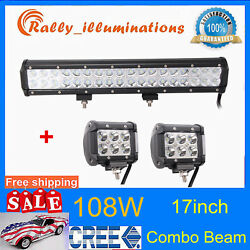 17 108w Led Work Light Bar Combo Driving Lamp Off Road+2x 4 18w Cree Cube Pods