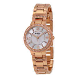 Fossil Virginia Silver Dial Rose Gold-tone Ladies Watch Es3284