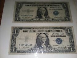 Two Silver Certificate Dollars 1935d 1935e Rare Very Good Condition