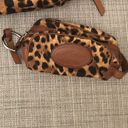DOLCE AND GABBANA LEOPARD PRINT SMALL MAKE-UP  TRAVEL BAG