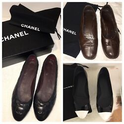 Lot Of Flats- Black Leather Black And White Patent Leather And Brown Leather