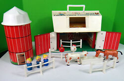 Fisher Price Play Family Farm Silo Little People Horse Fence 1968 Toy Barn Vtg