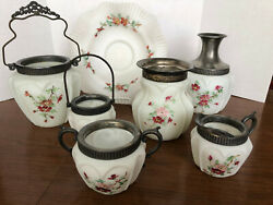 Antique Victorian Pigeon Blood Ruby Consolidated Satin Glass 9 Piece Set 1890s