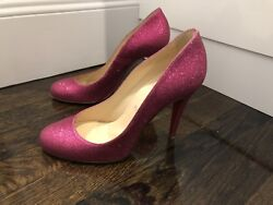 Rare Christian Louboutin Heels Worn For A Hour Ron Ron Pink Glitter Size 39 100