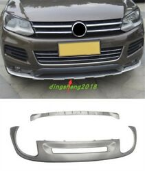 2pc Stainless Bumper Fit Front Rear Board Guard For Volkswagen Touareg 2011-2017