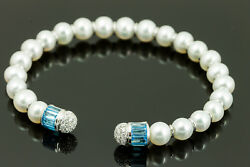 18k White Gold Pearl Bangle With Blue Topaz And Diamond Accents