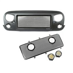 Spartan Grille Mesh Insert Kit w Rd LED Driving Lights; for 07-16 Jeep JK