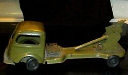Antique 1930s Antique Kingsbury Windup Army Green Cannon Truck Pressed Steel Toy