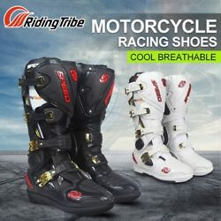 Upgraded Motorcycle Boots Motocross Racing Leather Long Knee High Shoes Off Road