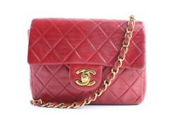 Chanel Classic Flap Mini Square Red Leather Cross Body Bag 4cr0703