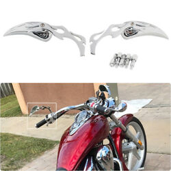 Flame Small Side Mirrors 810mm For Motorcycles Cruiser Chopper Bobber Chrome US