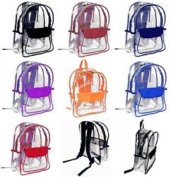 Vinyl Clear Transparent Backpack School Security Travel Sport Events Heavy Duty $19.50