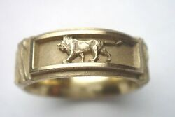 18k Green Gold Ring Three Lions With Matte Finish. Leo Sign