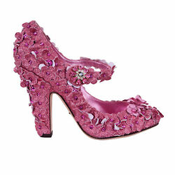 Dolce And Gabbana Studded Glitter Princess Cinderella Pumps Shoes Coco Pink 06958