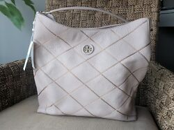 NWT Tory Burch Leather Whipstitch Logo Stitched Hobo Light Oak #29967 Nordstrom