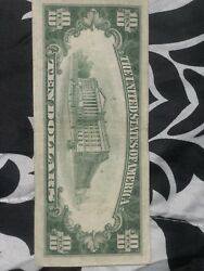 1934 A 10 Dollar Bill Federal Reserve Green Seal Note Old Paper Money
