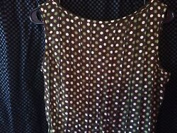 Studio 1940 Fit/flare Dress Size 10 Polyester Brown And Green Polka Dot Dress