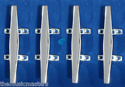 4x Chrome 6 Cleat Boat Marine Dock Raft Anchor Line Hq Rope Holder Tie-down
