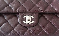 CHANEL Classic Caviar Leather Shoulder Bag Silver CC Short Chain Clutch NWT
