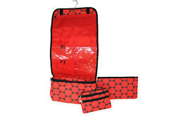 Travel Cosmetic Bag Set of 3 Red Circles $22.87