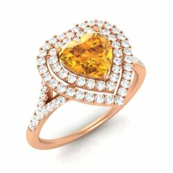 1.02ct Solid 14k Rose Gold Stunning Heart-cut Natural Citrine And Si Diamond Ring