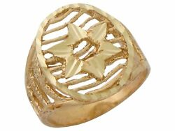 10k Or 14k Real Yellow Gold Unique Design Ladies Six Pointed Star Of David Ring