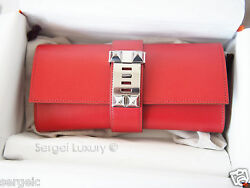 RAREST! New Hermes Medor Clutch bag Red Sanguine PHW Silver CDC leather 23 cm