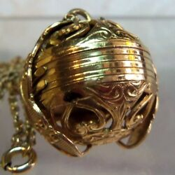 Victorian 14 K  Gold Filled 6 Photo Folding Ball Locket Necklace  estate  Rare