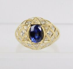 Natural Sapphire And 3 Carat Diamond Star 18k Gold Cocktail Ring