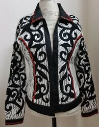 Berek Black White Red Rayon Blend Jacket Red Embroidery Size M