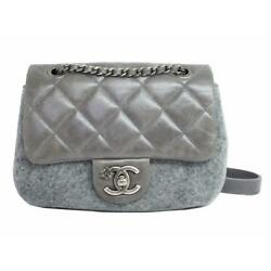 Auth CHANEL Quilted Chain Shoulder CrossBody Bag Gray Tweed Leather