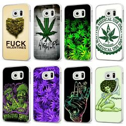 Weed Cannabis Leaf Joint Smoking High White Phone Case Cover For Samsung Galaxy